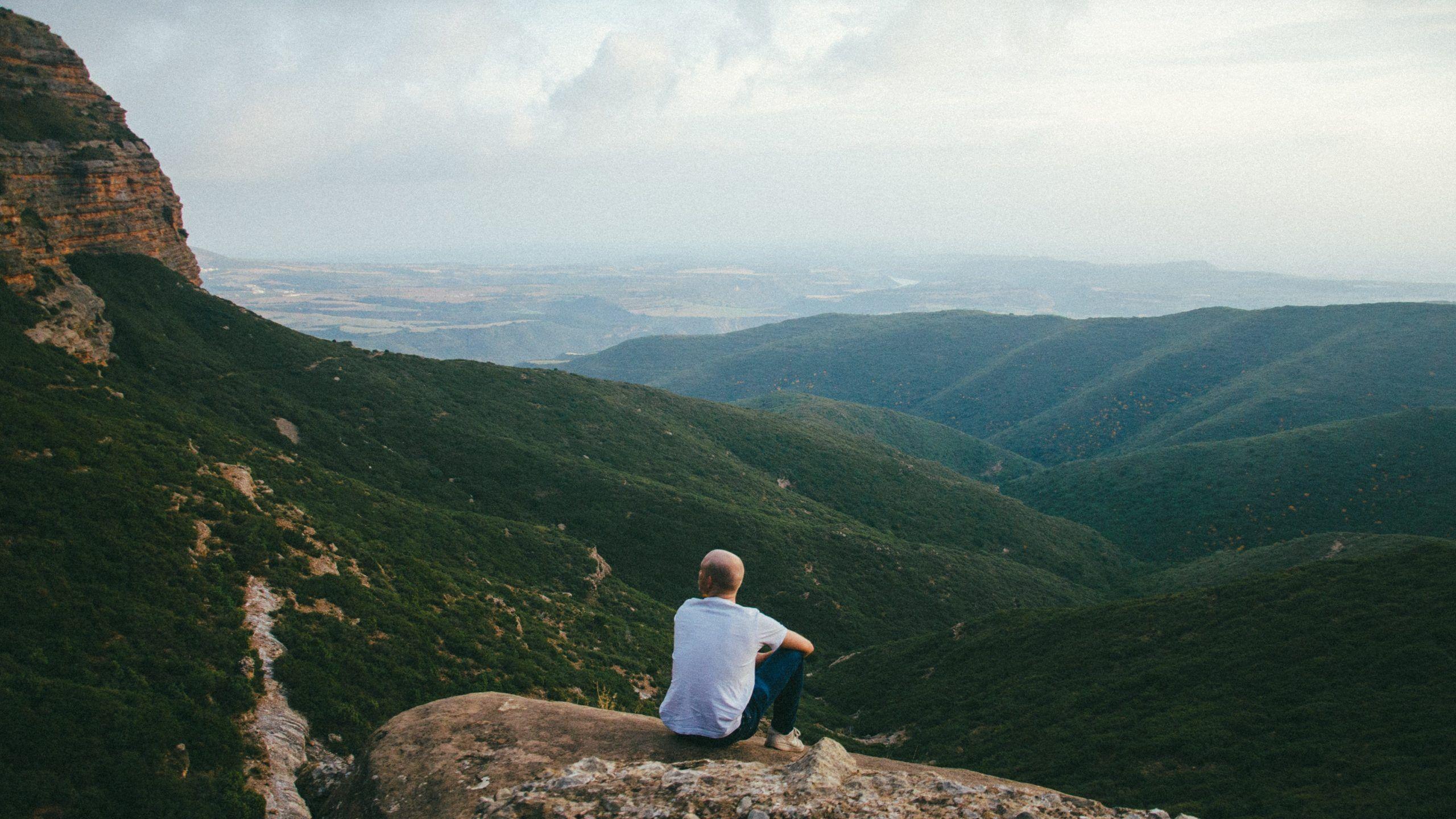 Homme regardant un paysage naturel